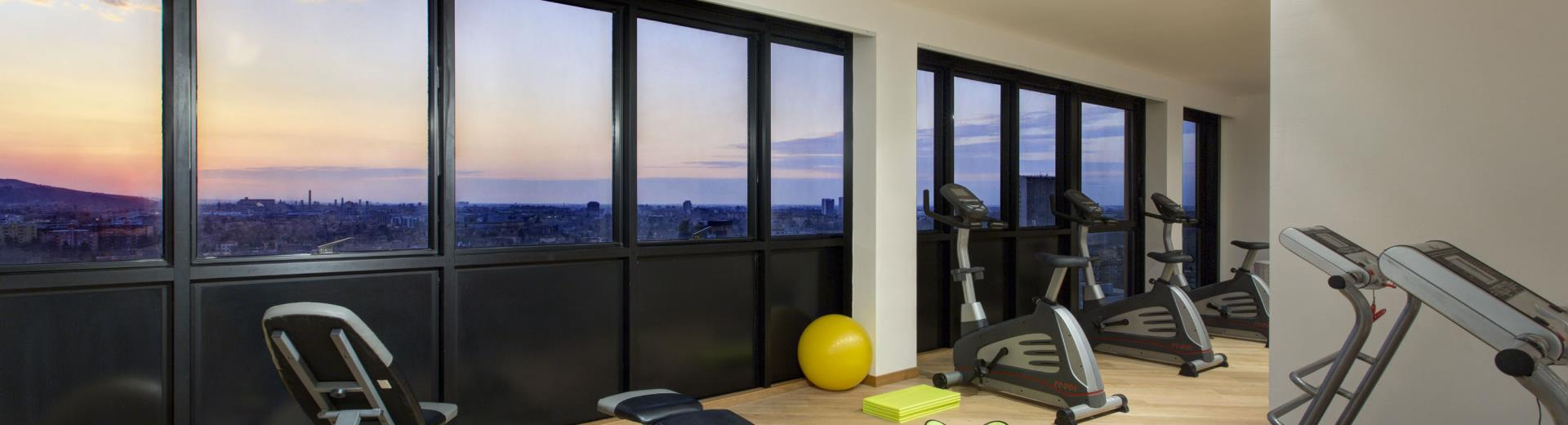 Your workout at the top floor of the hotel